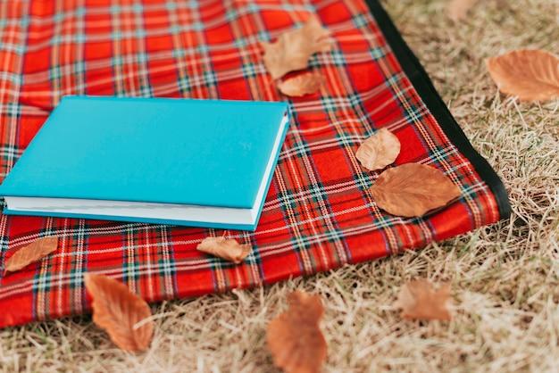 コピースペースとピクニック毛布の青い本