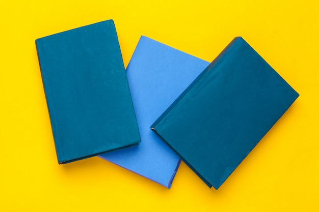 Blue books top view