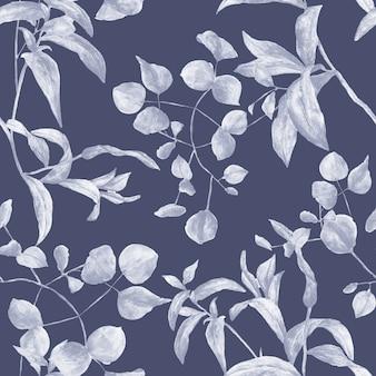 青い植物のシームレスなタイル張りの植物パターン