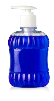 Blue bottle with liquid soap and dispenser isolated on white background