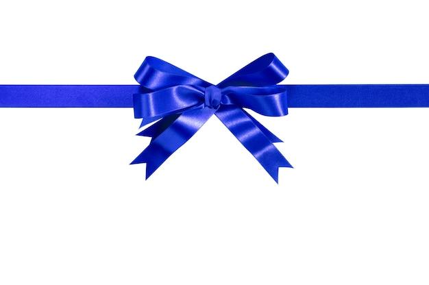 Синяя бант подарочная лента прямая горизонтальная