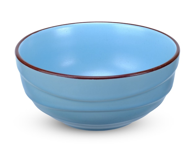 Blue bowl isolated on white.