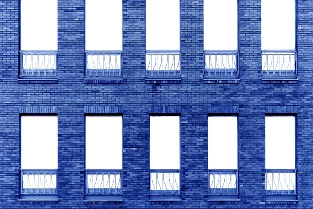 파란색 벽돌 건물 벽입니다. 현대 다락방의 인테리어입니다. 디자인 배경
