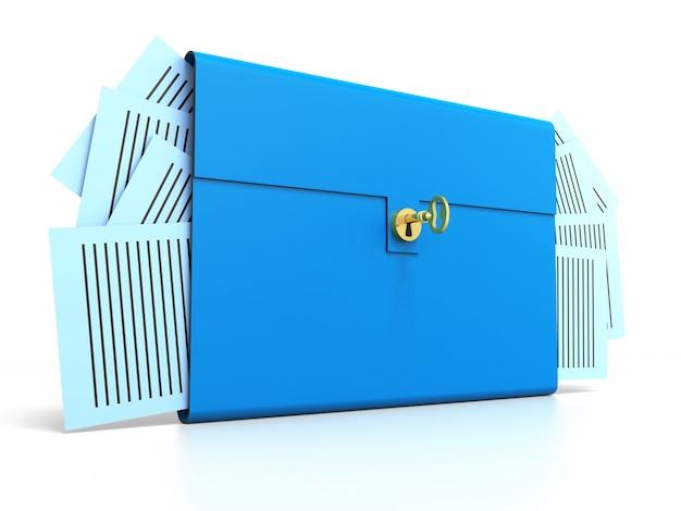 골드 키가 있는 블루 브리프 케이스. 흰색 배경에 고립.