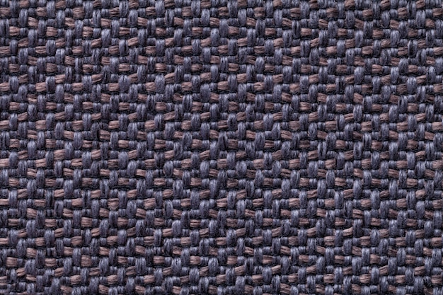 Blue and brown vintage fabric with woven texture  textile macro background