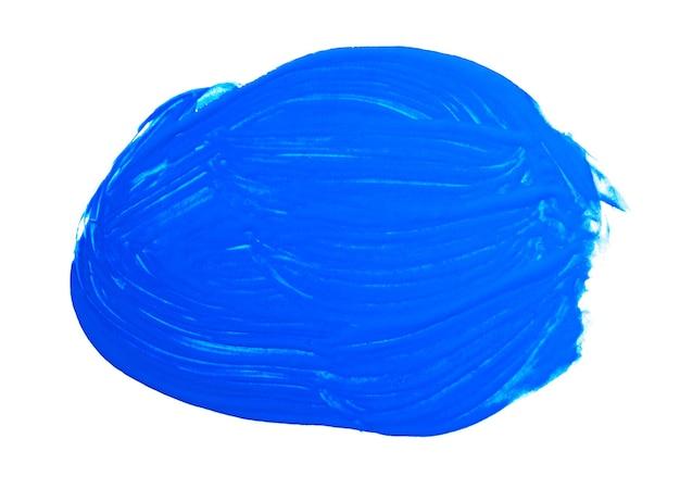 白い背景で隔離の青いブラシストローク。青い抽象的なストローク。カラフルな水彩筆ストローク。
