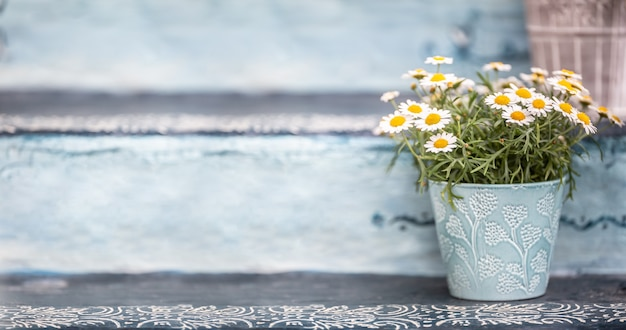 A blue bucket or flowerpot full of lovely and aromatic summer flowers.