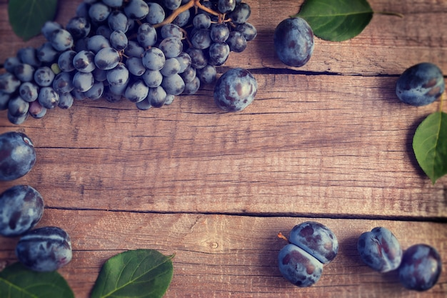 Blue bunch of grapes and plums. vintage style