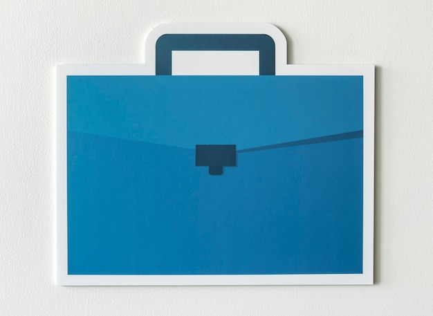 Blue business briefcase bag icon