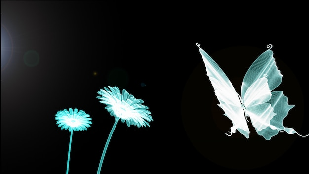 Blue butterfly, firefly, flower and sun is wireframe on background. 3d render. technology