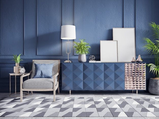 Blue cabinet with white armchair and plant and frame mockup on dark blue wall