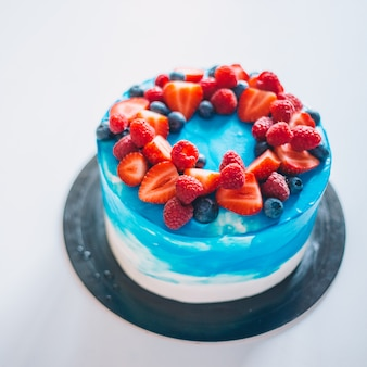 Blue cake for birthday, holiday and anniversary