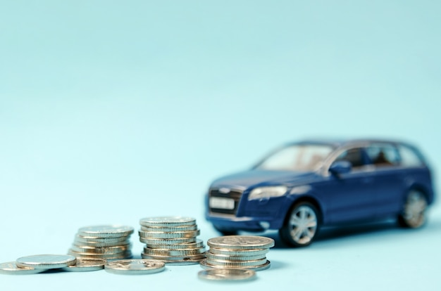 Blue car suv with coins