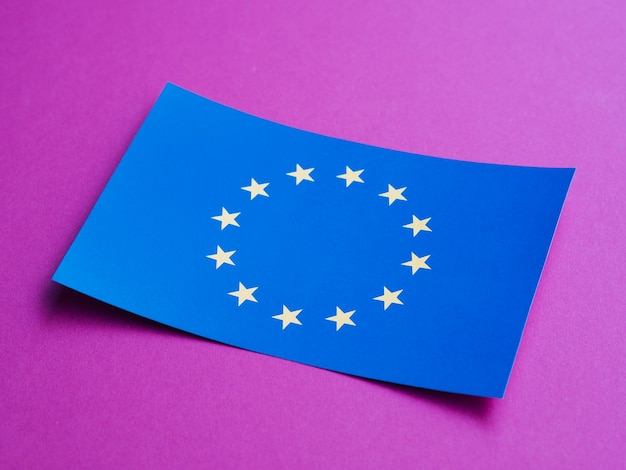 Blue card with european flag on purple background