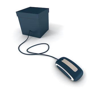 Blue cardboard box connected to a mouse with the same texture