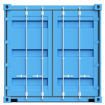 白い背景の上の青い貨物コンテナ。 3dイラスト