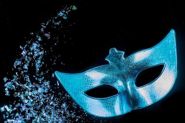 Синяя карнавальная маска для маскарада. еврейский праздник пурим.