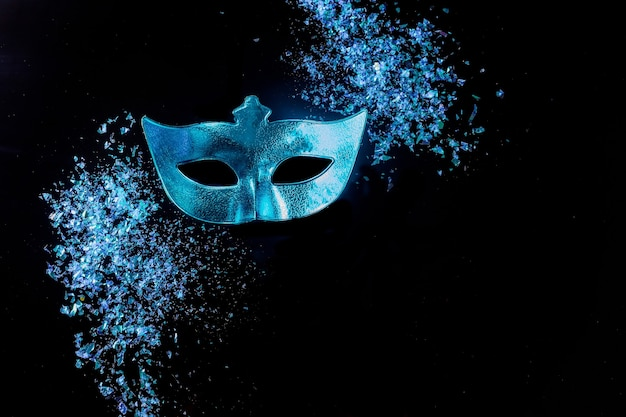 Blue carnival mask for masquerade. jewish holiday purim.