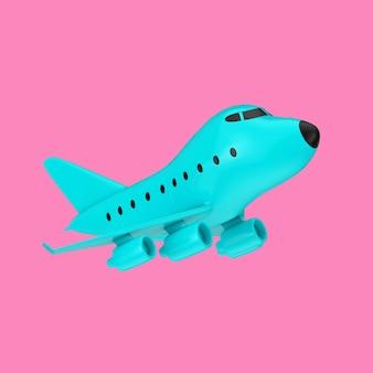 분홍색 배경에 이중톤 스타일의 파란색 만화 장난감 제트 비행기. 3d 렌더링