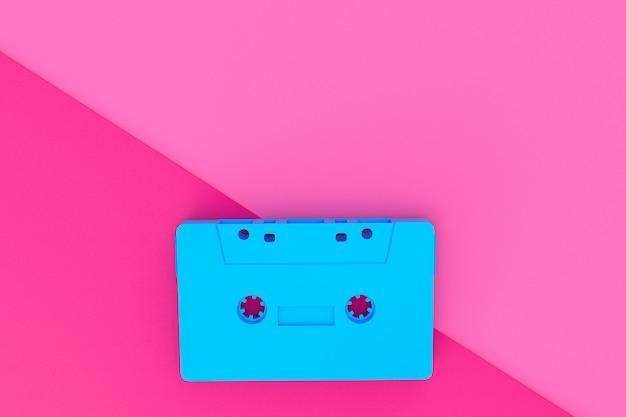 종이 질감 배경에 파란색 카세트 테이프