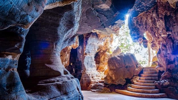 Blue cave is a new tourist attraction in thailand, mae sot district, tak province.