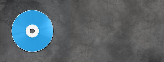 Blue cd - dvd label mockup template isolated on horizontal concrete banner
