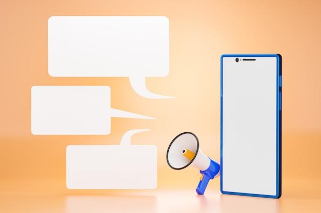青い携帯電話とメガホンの前の空白のチャットボックス