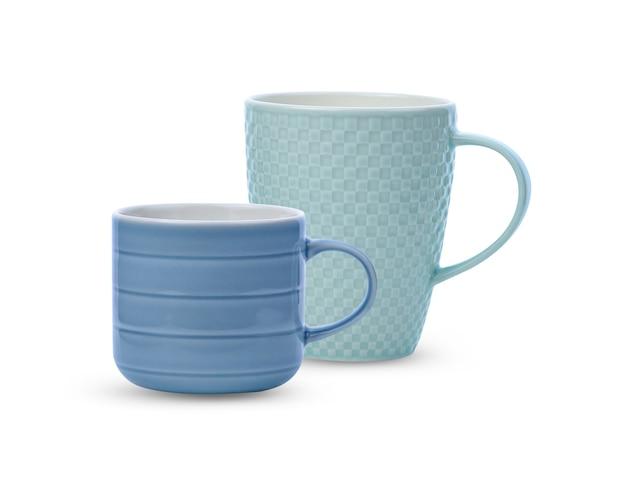블루 세라믹 컵 흰색 배경에 고립입니다.