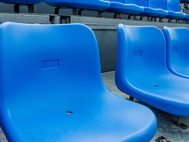 Blue chair on the grandstand