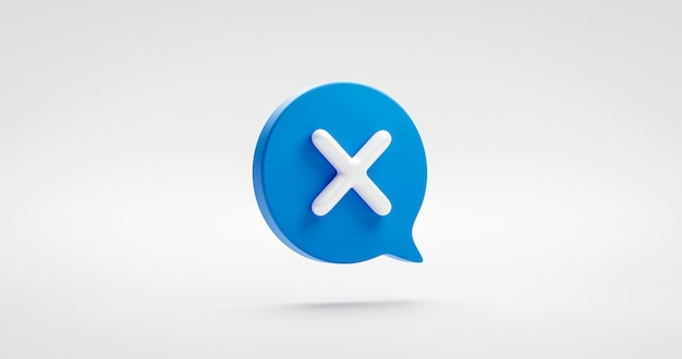 Blue check cross mark icon symbol or illustration no sign and tick choice wrong graphic element isolated on negative cancel background with speech bubble checklist flat design concept. 3d rendering.