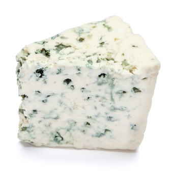 Blue cheese on a white table.