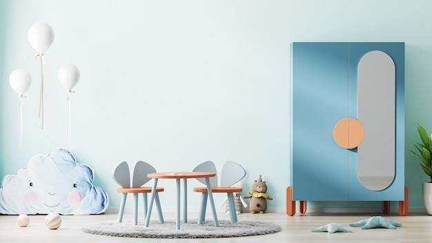 찬장, 장난감 및 어린이 테이블, 스칸디나비아 어린이 방 인테리어 배경이있는 파란색 어린이 방 인테리어