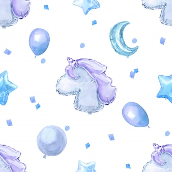 Blue children seamless pattern with bright shiny balloons, stars and unicorn