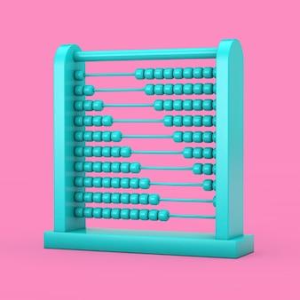 분홍색 배경에 이중톤 스타일의 파란색 어린이 장난감 두뇌 발달 주판. 3d 렌더링