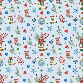 Синий новогодний фон с нарисованными рождественскими носками