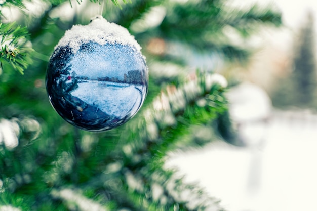 Blue christmas ball on spruce branches covered with snow/