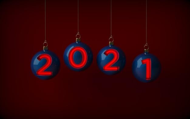 赤いネオンで照らされた、新年の数字でぶら下がっている青いクリスマスボール。