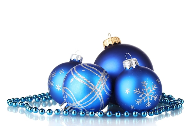 Blue christmas balls isolated on white surface