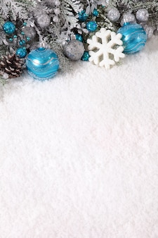 Blue christmas balls and snowflake