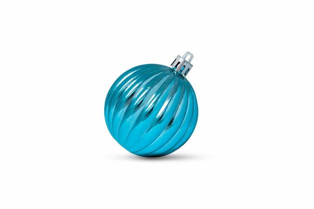 影と白い背景で隔離のストライプと青いクリスマスの装飾