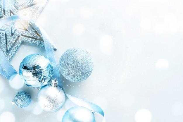 Blue christmas flat lay