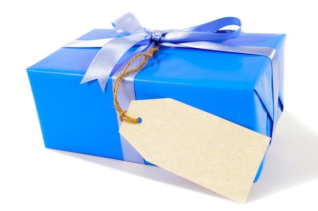Синий новогодний подарок с подарок тегом