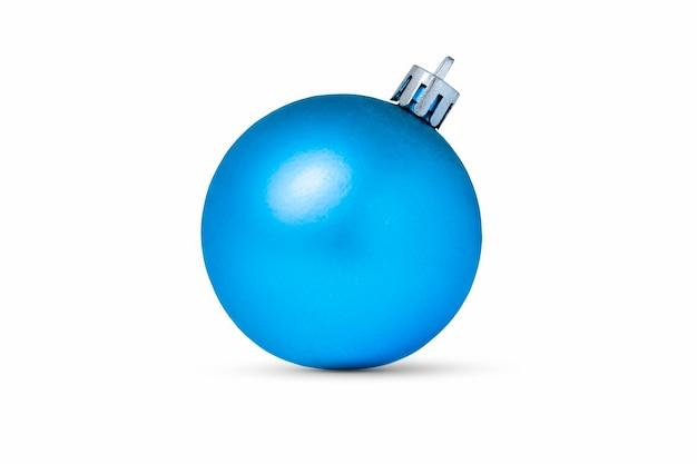 白で隔離の青いクリスマス飾り