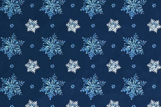 Blue christmas snowflake seamless pattern background, remix of photography by wilson bentley