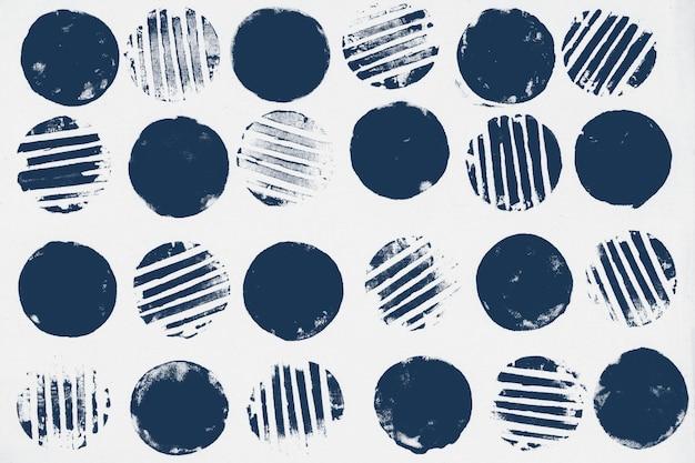 青い円パターンの背景ブロックプリント