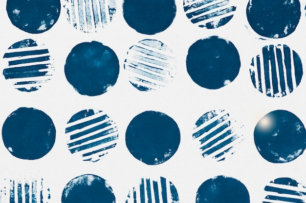 Blue circle pattern background block prints