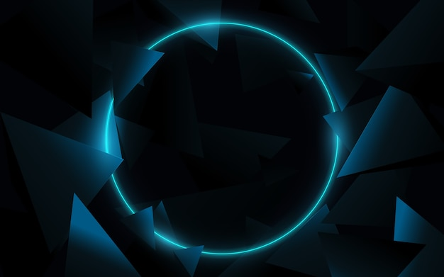 A blue circle with 3d triangles technology hi-tech futuristic digital. abstract geometric background. vector illustration