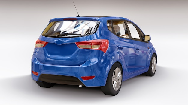 창의적인 디자인을 위한 빈 표면이 있는 파란색 도시 자동차. 3d 렌더링.