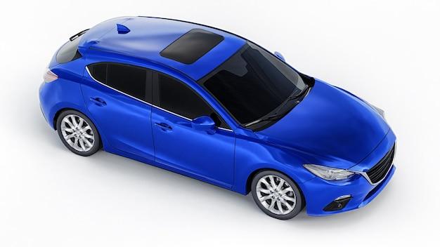 あなたの創造的なデザインのための空白の表面を持つ青い都市の車。 3dレンダリング。