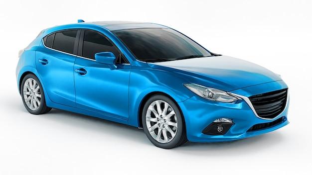 창의적인 디자인 D 렌더링을 위한 빈 표면이 있는 파란색 도시 자동차 프리미엄 사진
